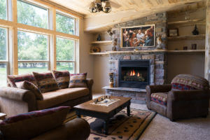 Vacation Cabin Living Room and Fireplace